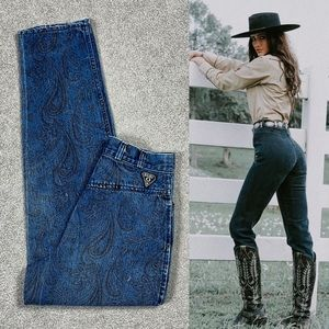 80s Paisley Bareback Tapered Western Ankle Jeans 4